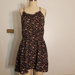 Rayon Floral Racerback Ruffle Front Dress
